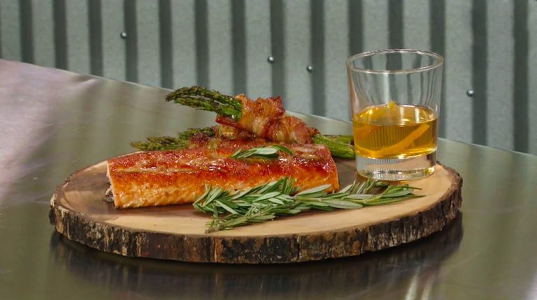 Bourbon Glazed Grilled Salmon and Bacon Wrapped Asparagus